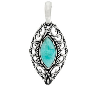 Carolyn Pollack Marquise Shape Amazonite Sterling Silver Enhancer - J322321
