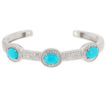 """As Is"" Sleeping Beauty Turquoise Avg. Diamond Cut Hinged Cuff"