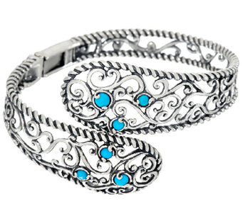 Carolyn Pollack Sleeping Beauty Turquoise Sterling Silver Bypass Cuff - J324121