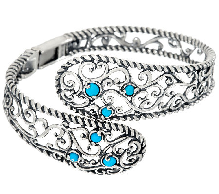 Carolyn Pollack Sleeping Beauty Turquoise Sterling Silver Bypass Cuff