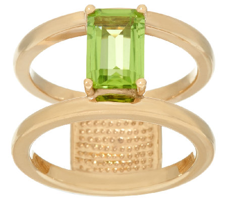 14K Gold Gemstone Polished Double Bar Band Ring, 1.60 cttw