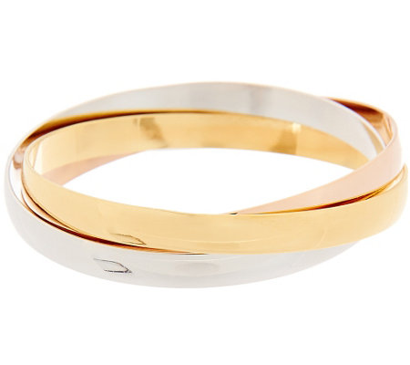 """As Is"" Bronzo Italia Polished Round Rolling Bangles"