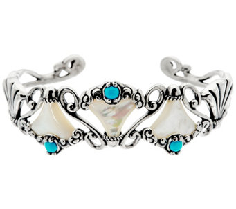 Carolyn Pollack Sterling Mother of Pearl & Turquoise Design Cuff - J328221