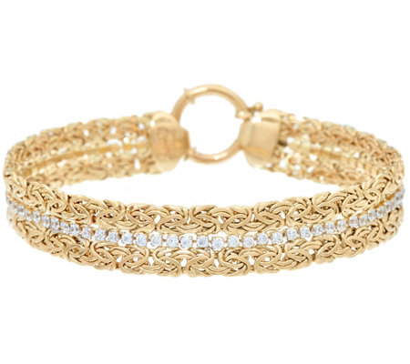 "14K Gold 7-1/4"" Double Byzantine and Crystal Bracelet, 7.8g"