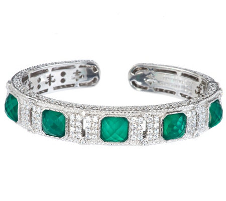 """As Is"" Judith Ripka Sterling Green Goddess Diamonique Cuff"