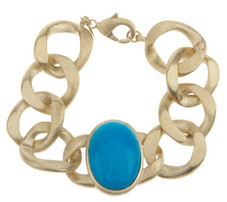 """As Is"" Rivka Friedman Bold Curb Link Gemstone Bracelet"