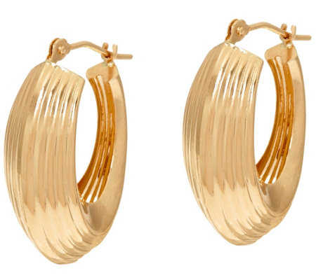 """As Is"" 14K Gold Ribbed Polished Oval Hoop Earrings"