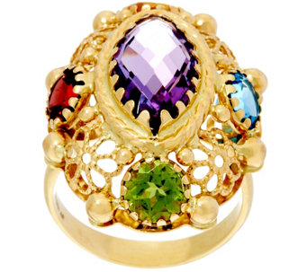 Arte d' Oro 6.00 ct tw Multi-gemstone Oval Ring 18K Gold - J331621