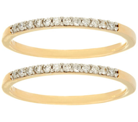 Set of 2 White Diamond Band Rings 14K, 1/5 cttw, by Affinity