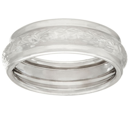 """As Is"" EternaGold Crystal Cut & Polished Band Ring 14K WG"