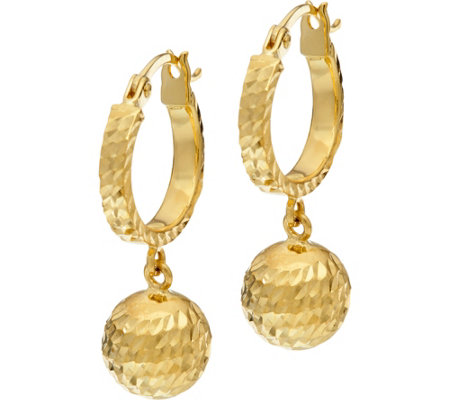 14K Gold Diamond Cut Bead Dangle Earrings with Gift Box