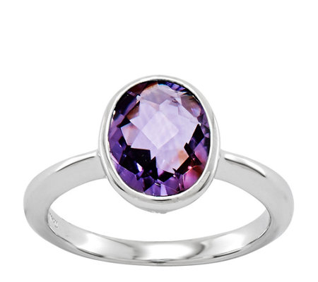 Sterling Choice of Faceted Oval Gemstone Ring