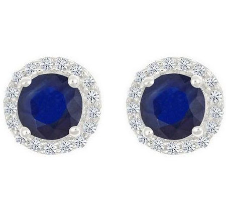 Premier Round 1cttw Sapphire & Diamond Halo Stud Earrings, 14