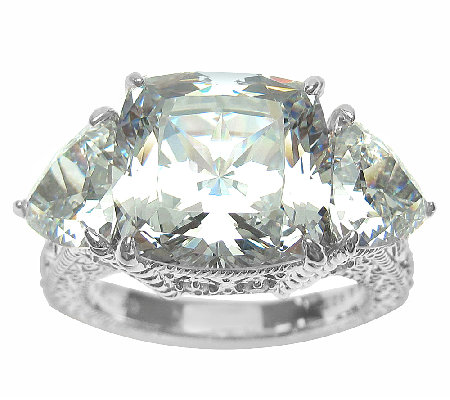 Judith Ripka Sterling 3-Stone 12.50cttw Diamonique Ring