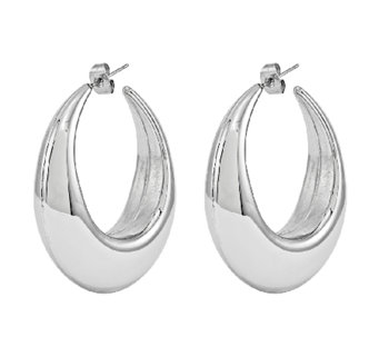 Stainless Steel Polished Bold Puff Hoop Earrings - J337821