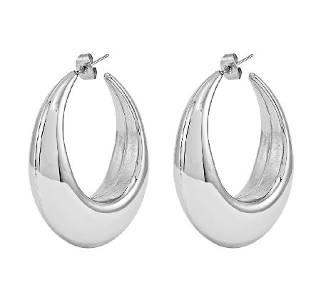 Stainless Steel Polished Bold Puff Hoop Earrings