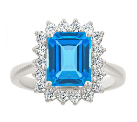 Premier 3.20cttw Emerald-Cut Blue Topaz DiamondRing, 14K