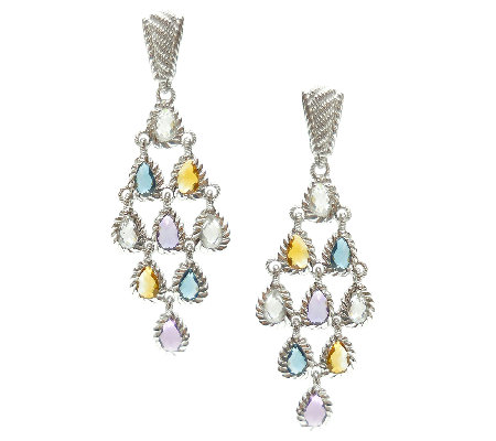 Judith Ripka Sterling Multi-Gemstone Dangle Earrings