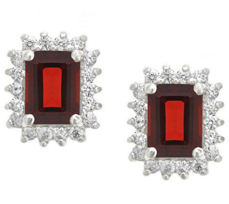 Premier Emerald Cut 1.90cttw Garnet Earrings, 14K