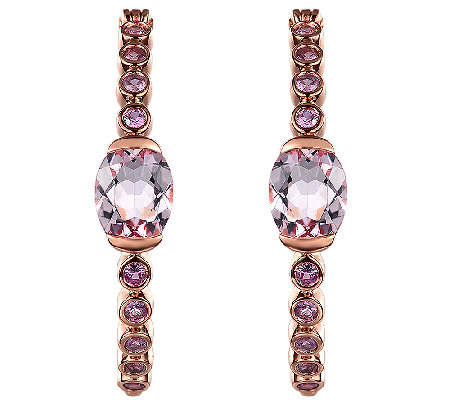 4.70cttw Pink Gemstone Hoop Earrings, Sterling/14K Rose Clad