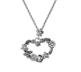 Sterling Floral Heart Pendant w/Chain by Or Paz - J338621