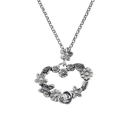 Sterling Floral Heart Pendant w/Chain by Or Paz