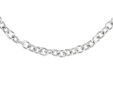 "Sterling Polished & Twisted Oval Link 18"" Necklace, 1/4""W"