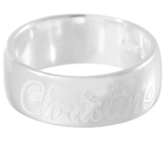 UltraFine Silver Polished Personalized Band Ring - J339321
