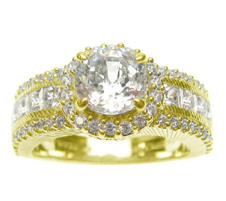 Judith Ripka Sterling 14K-Clad Round Halo & Princess-Cut Ring
