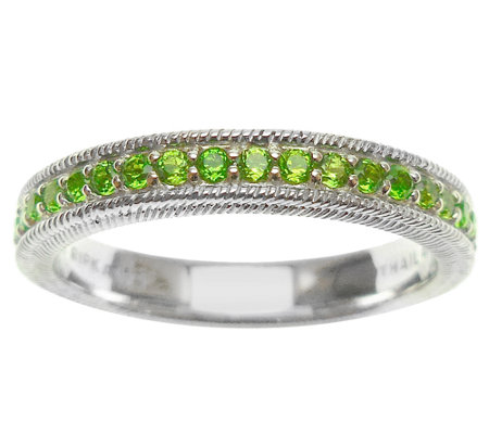 Judith Ripka Sterling Silver and Chrome Diopside Eternity Rin