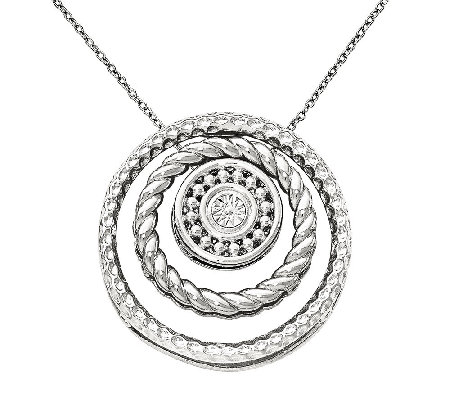 "Simply Stacks Textured Stackable Pendant Slidesw/ 18"" Chain"