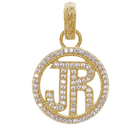 "Judith Ripka Sterling & 14K Clad Diamonique ""JR"" Pendant"