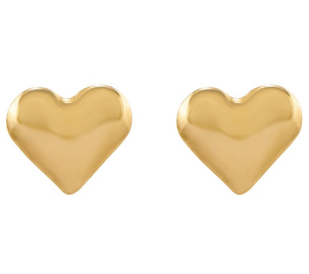Petite Puffed Heart Earrings, 14K Yellow Gold