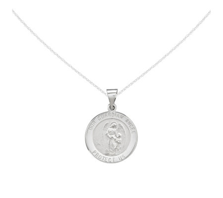 "Round Religious Medal w/18"" Chain, 14K Gold"