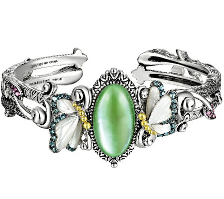 Barbara Bixby Sterling & 18K Multi-Gemstone Butterfly Cuff