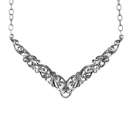 Carolyn Pollack Signature Sterling Silver Plaque Necklace