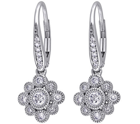 Floral Diamond Earrings, 14K White Gold, 1/2 cttw, by Affinit