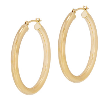 "EternaGold 1-1/8""L Polished Round Hoop Earrings, 14K"