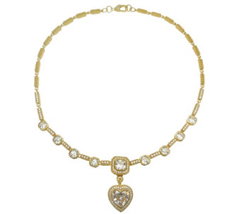 Judith Ripka 14K Clad &  Diamonique Necklace w/Heart Enhancer - J344821