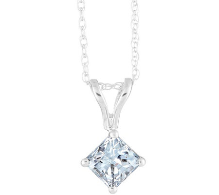 Princess Diamond Pendant, 14K White Gold, 1/10ct, by Affinity