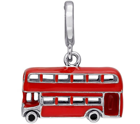 Laura Ashley Sterling Enamel Double-Decker BusCharm
