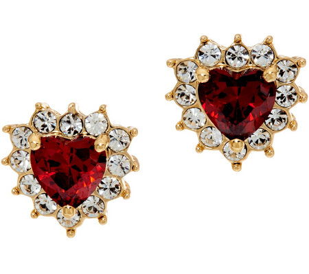 Grace Kelly Collection Simulated Ruby Hearts Earrings