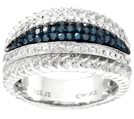 """As Is"" Blue Textured Border Diamond Ring, Sterling 3/10ct tw by Affinity"
