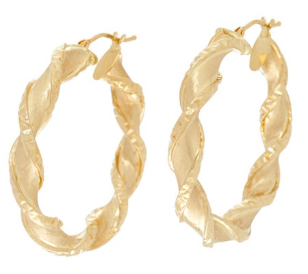 """As Is"" Arte d' Oro 1-1/2"" Satin Finish Twist Hoop Earrings 18K"