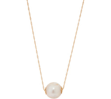 "Honora Cultured Pearl White Ming Drop 18"" Necklace, 14K Gold"