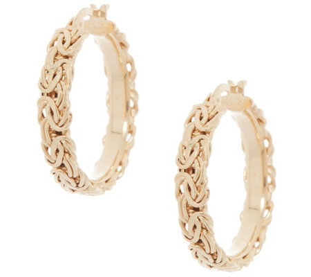 "14K Gold Byzantine 1"" Hoop Earrings"