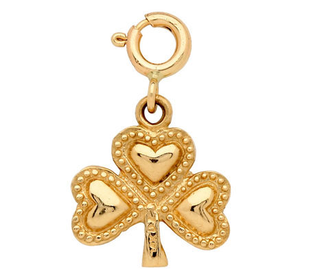14K Yellow Gold 3-D Clover Charm