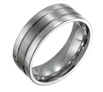 Forza Men's 8mm Steel Flat Satin Polished Ring - J109522