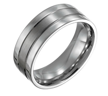 Forza Men's 8mm Steel Flat Satin Polished Ring