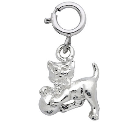 Sterling Cat with Ball of Yarn Charm